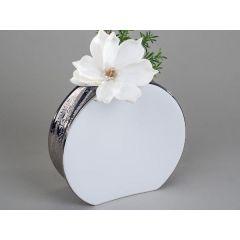 Edle Vase in Edelweiß rund mit silberner Reaktions-Glasur, 22 cm