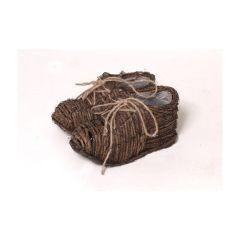 Dekoschuh als Planztopf aus braunem Rattan, 21 x 20 x 10 cm