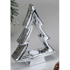 Teelichthalter Tannenbaum aus Porzellan in Silber, 23 cm