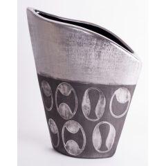 Design Vase in zwei verschiedenen antiken Silberfarben, 26,5 cm