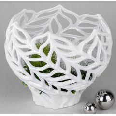 Deko-Gefäß aus Steingut, weiß glasiert, 30 x 27 cm