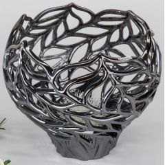 formano Deko-Pflanzgefäß aus Keramik, platin, 30 x 27 cm