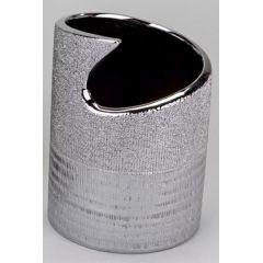 Blumenvase flach mit Silberstreifen, 21 cm