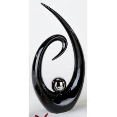 formano Deko-Objekt in modernem Schwarz mit Silberkugel, 35 cm
