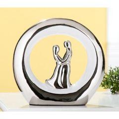 GILDE Skulptur Paar im Kreis in Silber und Weiß, 7,5 x 22 x 21 cm