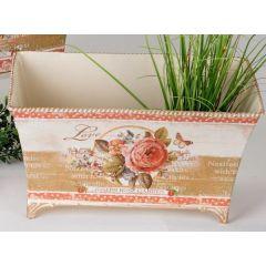 Jardiniere Pflanzgefäß Rosen Dekor aus Metall, 17 x 30 cm