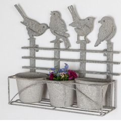 formano Wanddeko mit 3 Pflanztöpfen und Vögeln, antik grau, 40 cm