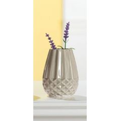 GILDE Moderne Keramik-Vase grau glasiert, 11 cm