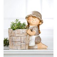 GILDE Sommerkind Mädchen als Pflanztopf, creme baun, 40 cm