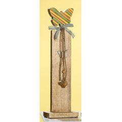 GILDE Deko-Ständer aus Mangoholz mit buntem Schmetterling, 79 cm