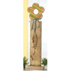 GILDE Deko-Ständer aus Mangoholz mit bunter Blume, 85 cm