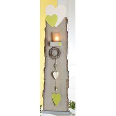 GILDE Deko-Ständer als Windlicht mit Herz, Dekoband und Kranz, 96 cm