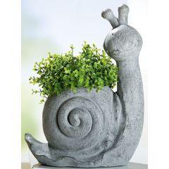GILDE Dekofigur Pflanz-Schnecke antik grau, 48 cm