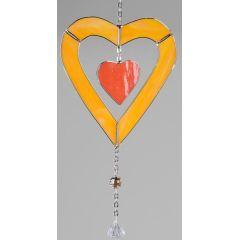 Fensterschmuck Tiffany-Glas hängendes Herz in Orange
