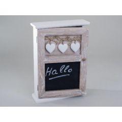 Schlüsselkasten aus Holz mit Herzen und Tafel