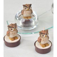 formano Deko-Kerzen Teelichter Eule braun Satz 6 Stück