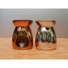 Duftlampe im Metallic-Look aus Keramik