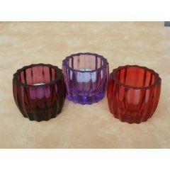 3 Kerzengläser lila-pink-rot