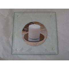 Kerzenteller quadratisch aus Glas 12,5 cm