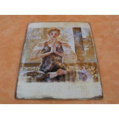 Metall-Wandbild - Yoga-Frau