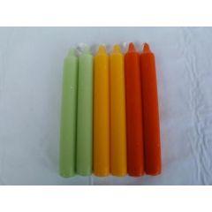 Stabkerze in Hellgrün, Gelb oder Orange, 18 cm