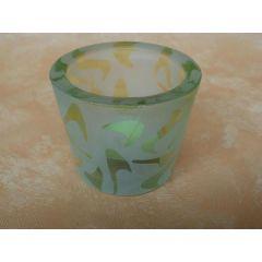 Votivglas grün aus satiniertem Glas