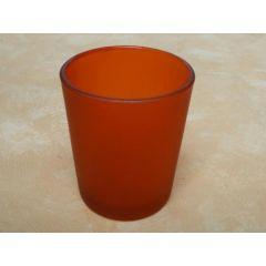 Votivglas orange aus satiniertem Glas