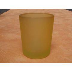 Votivglas gelb aus satiniertem Glas