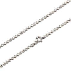 2,5mm Glitzer Halskette, diamantierte Kugelkette aus 925 Silber Rhodium 45 oder 80 cm Länge