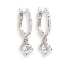 Edel glitzernde Ohrringe aus rhodinierten Sterling Silber mit Zirkonia, Ohrhänger