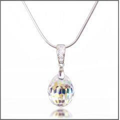 925 Silberkette mit Swarovski® Kristall Tear Drop Anhänger Crystal Aurora Boreale