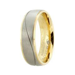Bicolor Ring aus Titan mit mattierter Oberfläche, Titanring für Damen oder Herren teilvergoldet