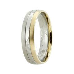 Edler Bicolor Ring aus Titan, Titanring für Damen oder Herren teilvergoldet