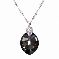 925 Silber Halskette mit Swarovski® Kristall Leaf in Silver Night, gau, anthrazit