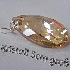 5cm großer Swarovski® Kristall Schmuckanhänger Tropfen in 3 Farben, Silberöse