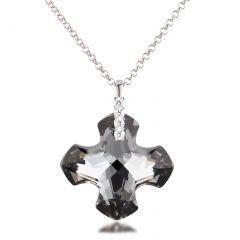 Großer Kreuz Anhänger Swarovski® Kristall Greek Cross Silver Night, 925 Silber Rhodium, wahlweise mit Kette