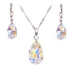 Schmuckset aus rhodinierten Sterlingsilber mit Tropfen Kristall von Swarovski® in Crystal Aurora Boreale