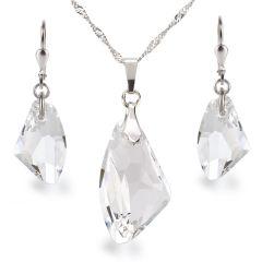 Schmuckset aus 925 Silber mit Galactic Kristallen von Swarovski®, Farbe: crystal, glasklar
