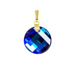 Schmuckanhänger vergoldet mit Swarovski® Twist Kristall 18mm blau, Bermuda Blue, 10/000 Gold-Doublé