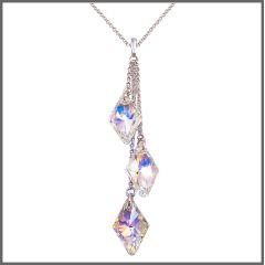 Halskette mit langen Anhänger mit Swarovski® Kristall in Crystal Aurora Boreale, 925 Silber Rhodium