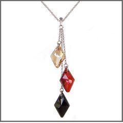 Halskette aus 925 Silber Rhodium mit langen Anhänger mit Swarovski® Kristall 3-farbig