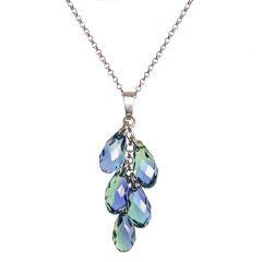 Halskette aus 925 Silber Rhodium und Swarovski® Kristall Brioletten Traube Anhänger lavendel und grün
