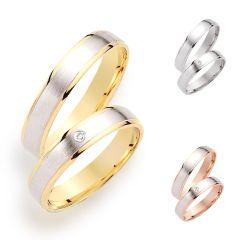 Partnerringe 925 Silber rhodiniert mattiert verschiedene Vergoldung