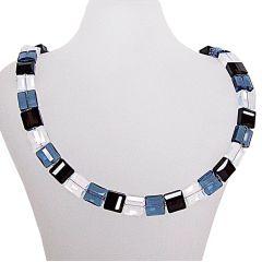 Halskette, Collier Stairway aus Swarovski® Kristall schwarz, blau, weiß, 925 Silber
