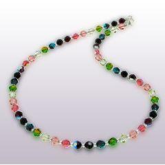 Collier, Halskette aus 6mm Swarovski® Kristallperlen multicolor bunt, Verschluss: 925 Silber