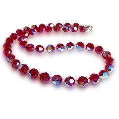 Collier, Halskette aus 8mm Kristallperlen von Swarovski®, Rot mit Aurora Boreale Effekt