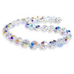 Collier aus Swarovski® Kristallperlen 10mm, Farbe: Crystal Aurora Boreale, 925 Silber