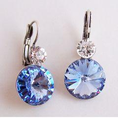 Ohrhänger mit Swarovski® Kristall Rivoli 12mm in Light Sapphire, blau
