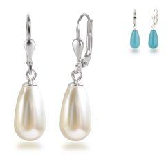 925 Silber Ohrringe mit synth. Perlen in Tropfenform, Ohrhänger Farbwahl