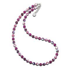 Collier, Halskette aus 6mm Swarovski® Kristallperlen in fuchsia, pink, lila, Verschluss: 925 Silber